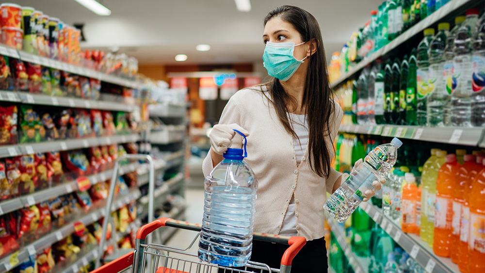 Coronavirus-Woman-Shopping-Bottled-Water-Mask