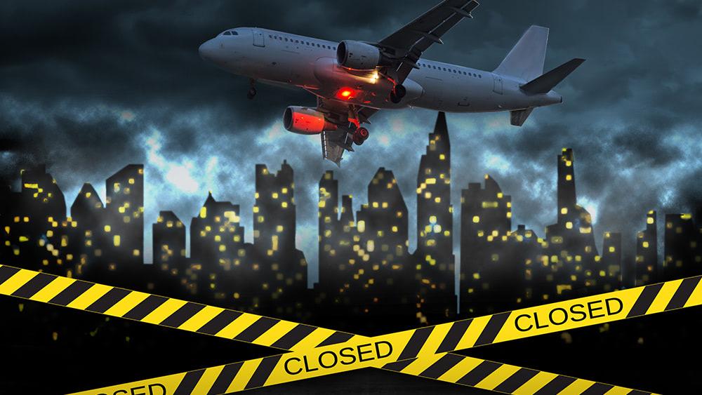 Coronavirus-Plane-City-Closed-Quarantine-Tape