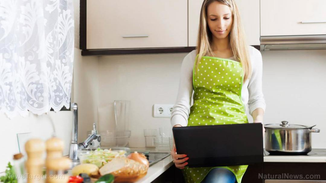 Woman-Kitchen-Computer-Recipe-Cooking