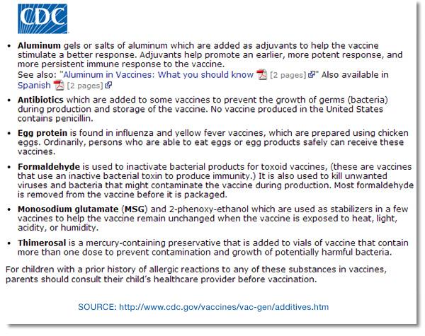 CDC Additive Vaccine Sources
