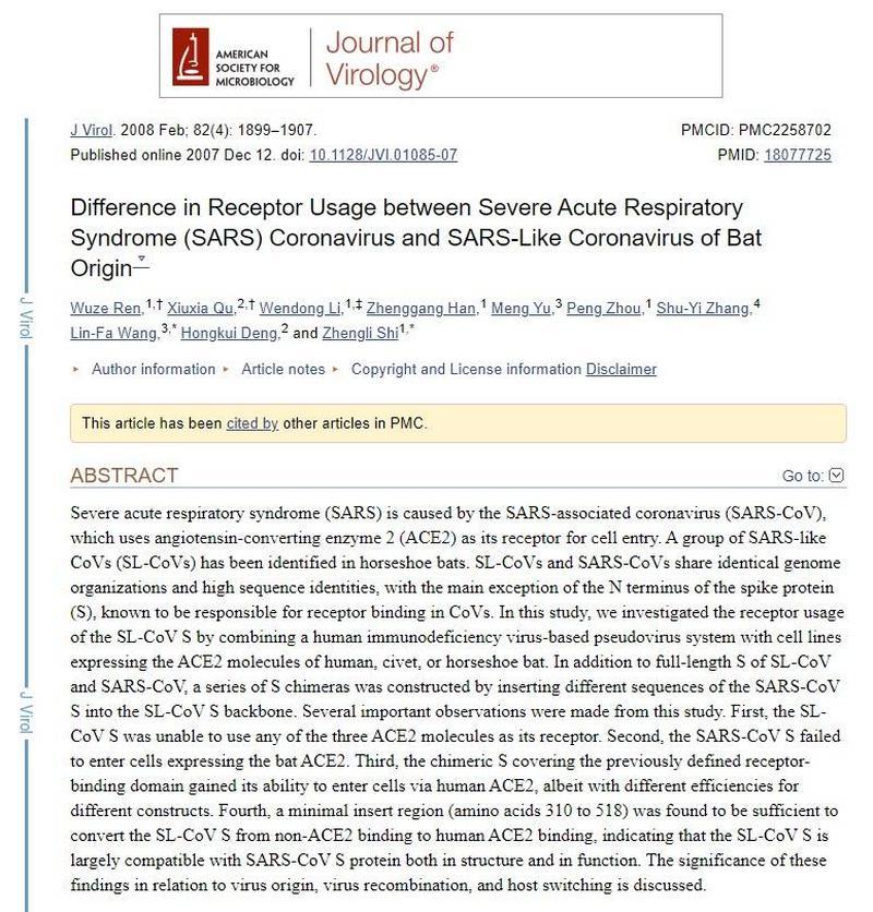 Difference in Receptor between SARS Coronavirus and SARS like of Bat