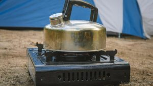 portable propane-powered camping stove or camping oven