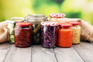Jars With Variety Of Pickled Vegetables Preserved Food