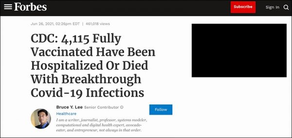 CDC: 4,115 Fully Vaccinated Have Been Hospitalized Or Died