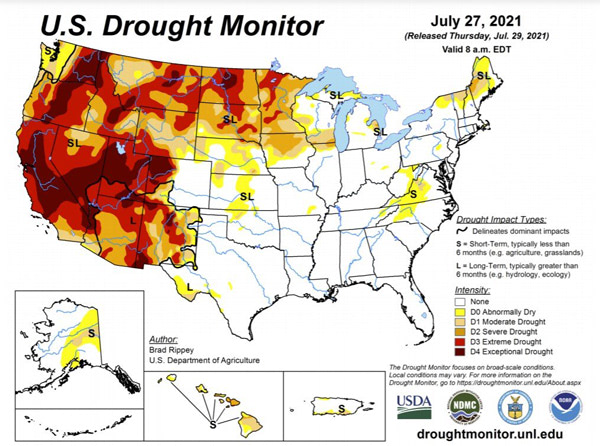 us drought monitor map