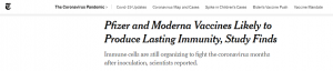 Pfizer and Moderna Vaccine likely to produce lasting Immunity