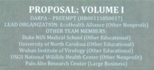 DARPA Ecohealth alliance proposal