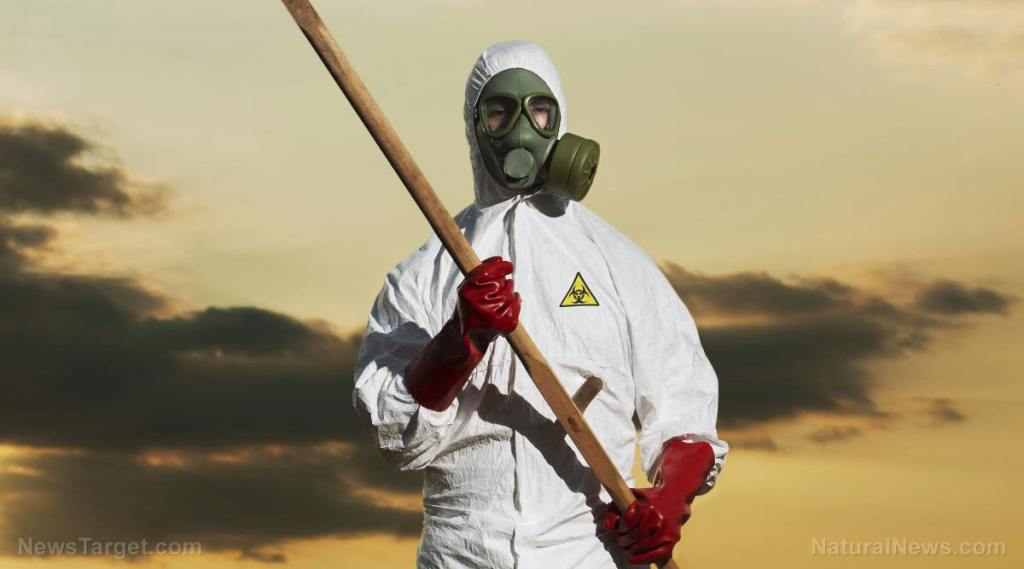 """DoD dispatches HAZMAT team, closes air space following Moderna vaccine shipment transport truck crash – and these things are """"safe"""" to inject? Gmo-hazmat-suit-field-crops-scythe"""