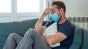 Man Stress Sad Upset Covid-19 Mask Pandemic